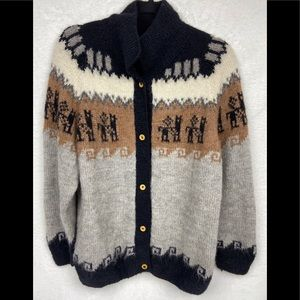 Vintage Alpaca Wool Cardigan Sweater